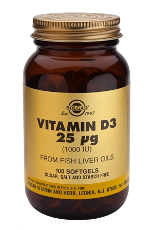SOLGAR VITAMIN D-3 25 µG/1000 IU  100 SOFTGELS